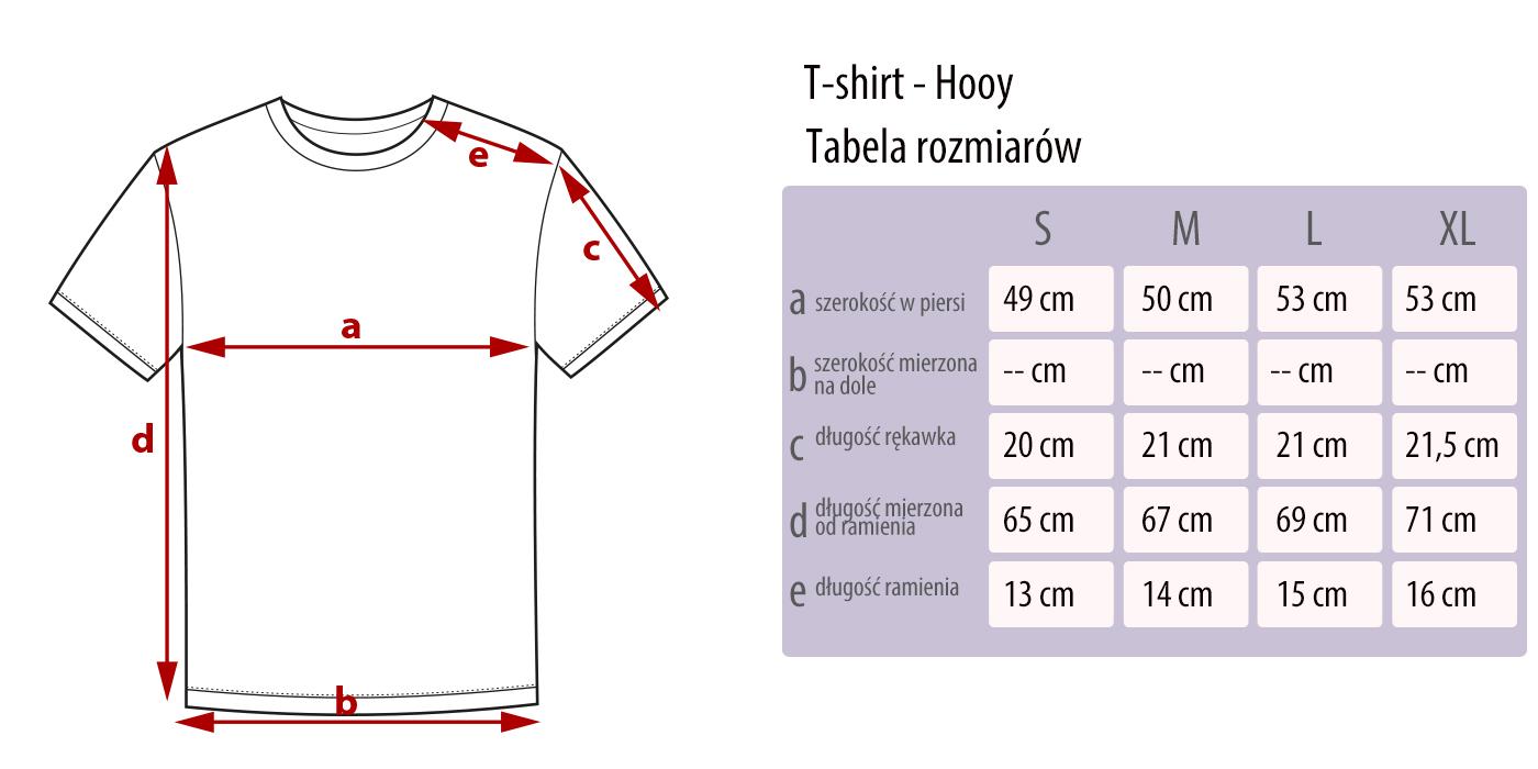 Tabela rozmiarów koszulek